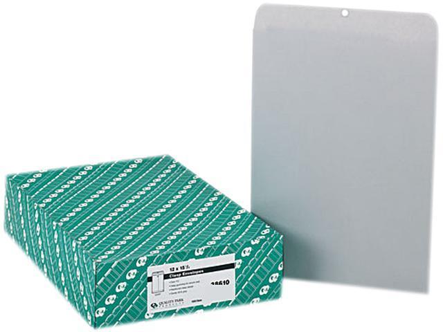 Quality Park 38610 Clasp Envelope, 12 x 15 1/2, 28lb, Executive Gray, 100/Box