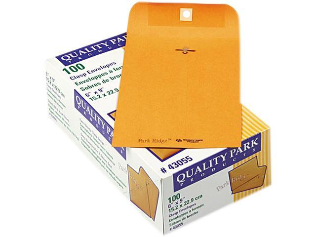 Quality Park 43055 Park Ridge Kraft Clasp Envelope, 6 x 9, Light Brown, 100/Box