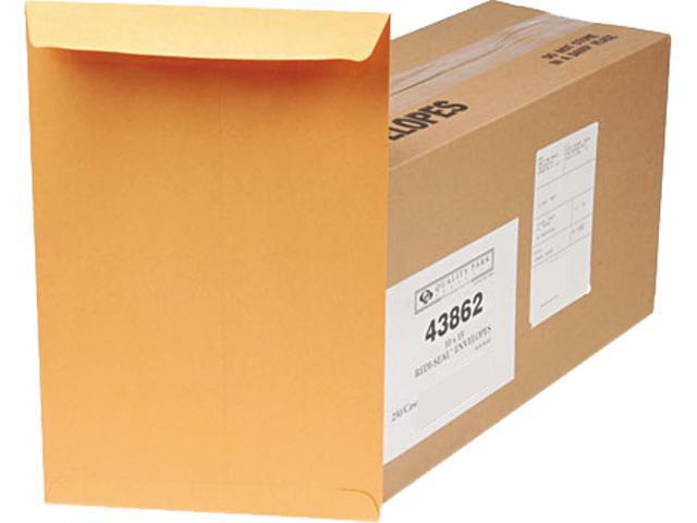 Quality Park 43862 Redi-Seal Catalog Envelope, 10 x 15, Light Brown, 250/Box