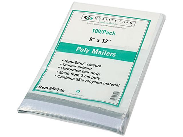 Quality Park 46190 Redi-Strip Recycled Poly Mailer, Side Seam, 9 x 12, White, 100/Pack