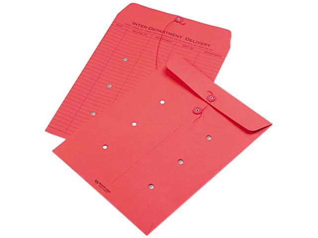 Quality Park 63574 Colored Paper String & Button Interoffice Envelope, 10 x 13, Red, 100/Box