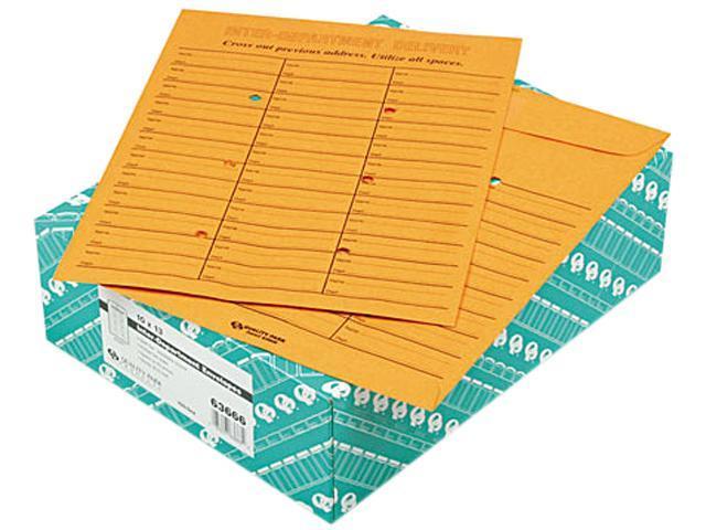 Quality Park 63666 Light Brown Kraft Redi-Tac Box-Style Interoffice Envelope, 10 x 13, 100/Box