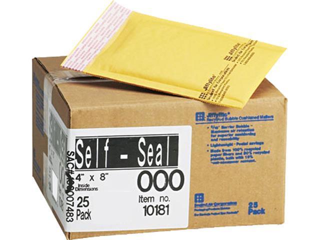 Sealed Air 10181 Jiffylite Self-Seal Mailer, Side Seam, #000, 4 x 8, Golden Brown, 25/Carton