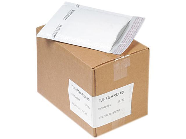 Sealed Air 37712 Jiffy TuffGard Self-Seal Cushioned Mailer, #0, 6 x 10, White, 25/Carton