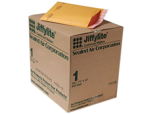 Sealed Air 39092 Jiffylite Self-Seal Mailer, Side Seam, #1, 7 1/4 x 12, Golden Brown, 100/Carton