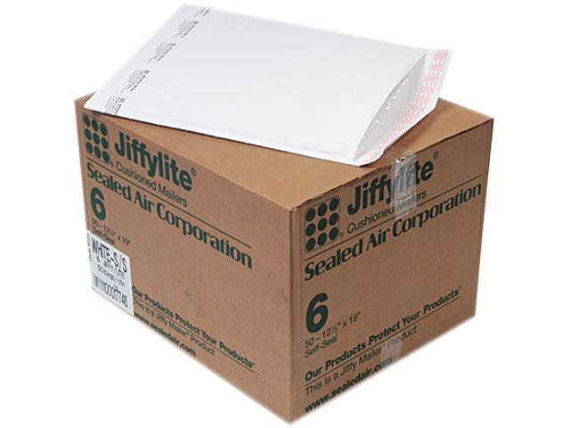 Sealed Air 39262 Jiffylite Self-Seal Mailer, Side Seam, #6, 12 1/2 x 19, White, 50/Carton