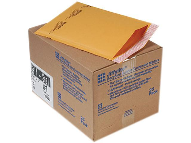 Sealed Air 10186 Jiffylite Self-Seal Mailer, Side Seam, #1, 7 1/4 x 12, Golden Brown, 25/Carton