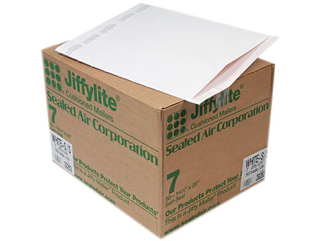 Sealed Air 39263 Jiffylite Self-Seal Mailer, Side Seam, #7, 14 1/4 x 20, White, 50/Carton