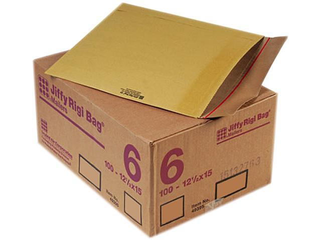 Sealed Air 49395 Jiffy Rigi Bag Mailer, Side Seam, #6, 12 1/2 x 15, Golden Brown, 100/Carton
