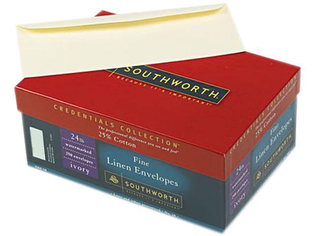 Southworth J564-10 Linen #10 Envelope, V-Flap, Ivory, 250/Box
