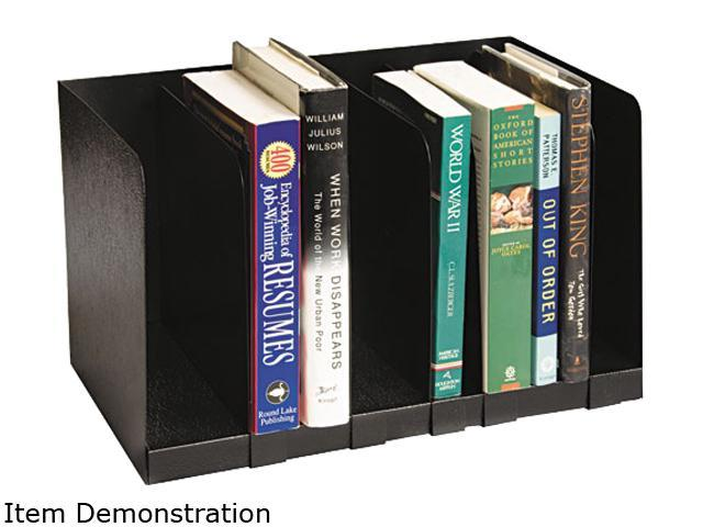 Buddy Products 570-4 Six Section Book Rack w/Dividers, Steel, 15 x 9 1/4 x 9 1/4, Black