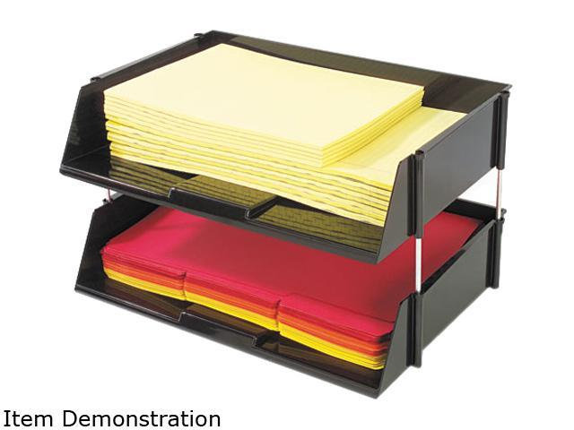 Deflect-o 582704 Industrial Stacking Tray Set, Two Tier, Plastic, Black