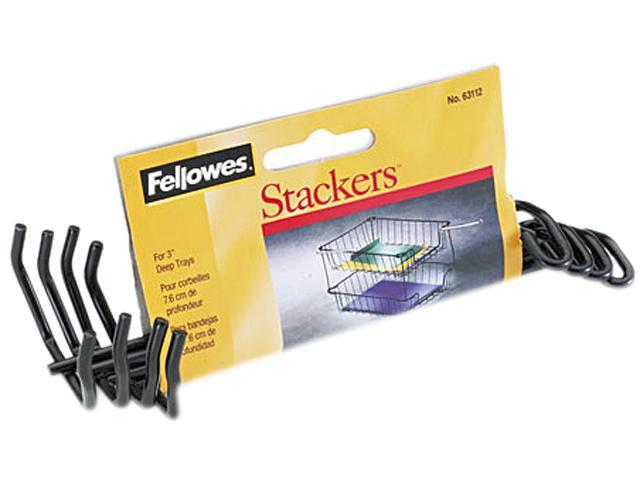 "Fellowes 63112 Desk Tray Stacking Posts for 3"" Capacity Trays, Black, Four Posts/Set"