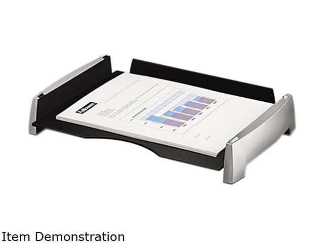 Fellowes 8031701 Side Load Letter Desk Tray, Plastic, Black/Silver