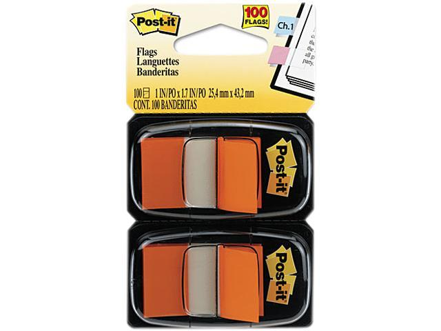 Post-it Flags 680-OE2 Standard Tape Flags in Dispenser, Orange, 100 Flags/Dispenser