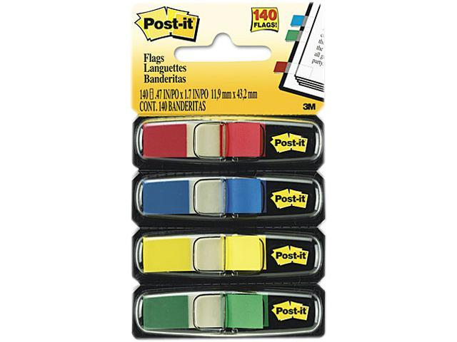 Post-it Flags 683-4 Small Flags in Dispensers, Four Colors, 35/Color, 4 Dispensers/Pack