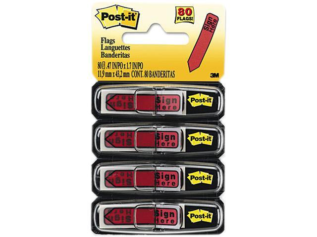 "Post-it Flags 684-RDSH Arrow Message 1/2"" Flags in Dispenser, ""Sign Here"", Red, 80/Pack"