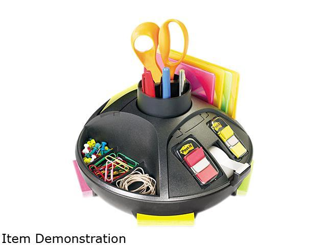 "Post-it C91 Rotary Self-Stick Notes Dispenser, Plastic, Rotary, 10"" diameter x 6, Black"