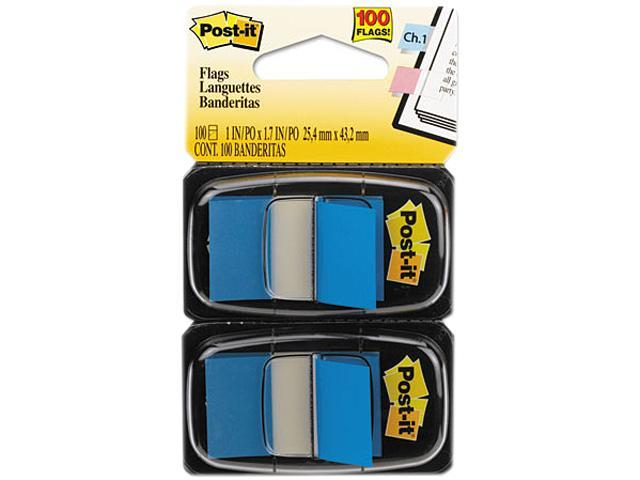 Post-it Flags 680-BE2 Standard Tape Flags in Dispenser, Blue, 100 Flags/Dispenser