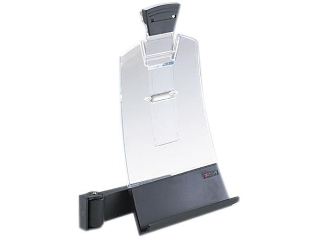 3M DH445 Clip Copyholder, Flat Panel Monitor Mount, Plastic, Holds 35 Sheets, Black/Clear