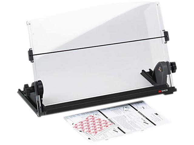 3M DH630 In-Line Adjustable Desktop Copyholder, Plastic, 150 Sheet Capacity, Black/Clear