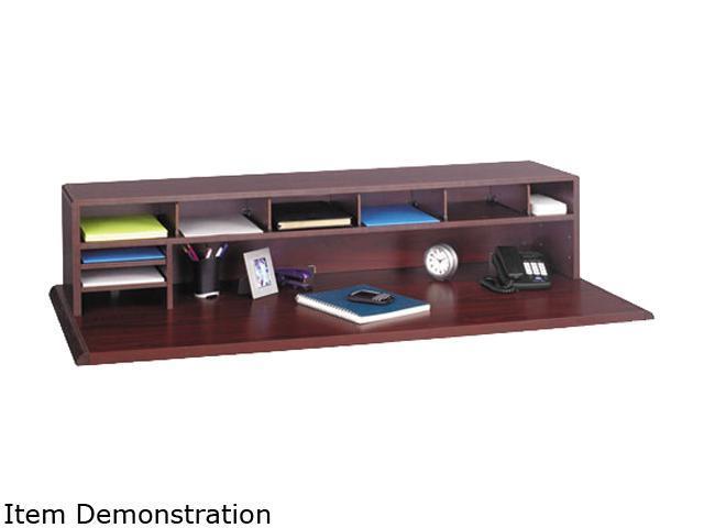 Safco 3671MH Low-Profile Desktop Organizer, 10 Sections, 57 1/2 x 12 x 12, Mahogany