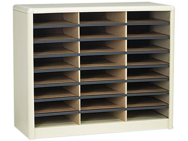 Safco 7111SA Steel/Fiberboard Literature Sorter, 24 Sections, 32 1/4 x 13 1/2 x 25 3/4, Sand