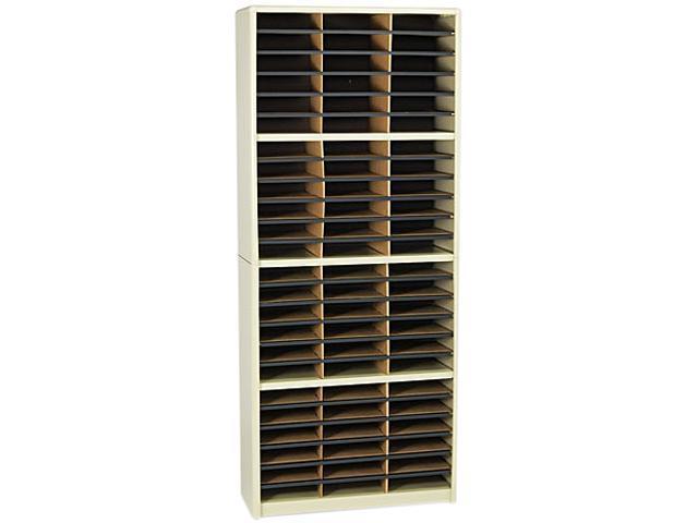 Safco 7131SA Steel/Fiberboard Literature Sorter, 72 Sections, 32 1/4 x 13 1/2 x 75, Sand