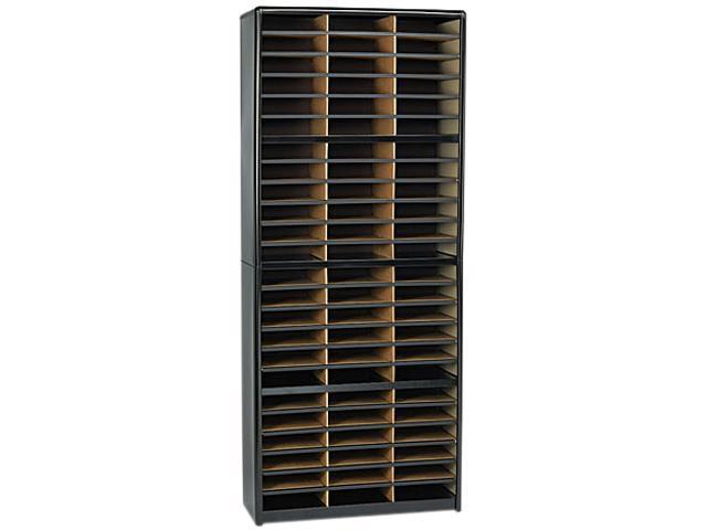 Safco 7131BL Steel/Fiberboard Literature Sorter, 72 Sections, 32 1/4 x 13 1/2 x 75, Black