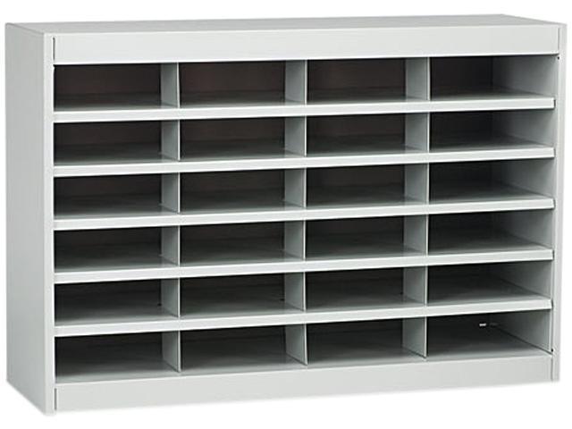 Safco 9211GRR Steel/Fiberboard E-Z Stor Sorter, 24 Sections, 37 1/2 x 12 3/4 x 25 3/4, Gray