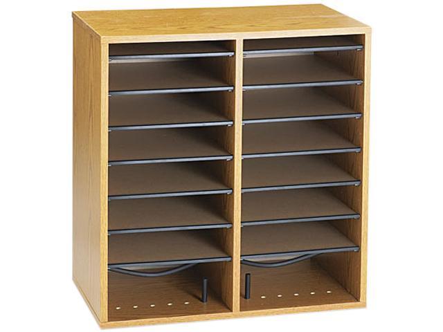 Safco 9422MO Wood/Laminate Literature/CD Sorter, 16 Section, 19 1/2 x 11 3/4 x 20, Medium Oak