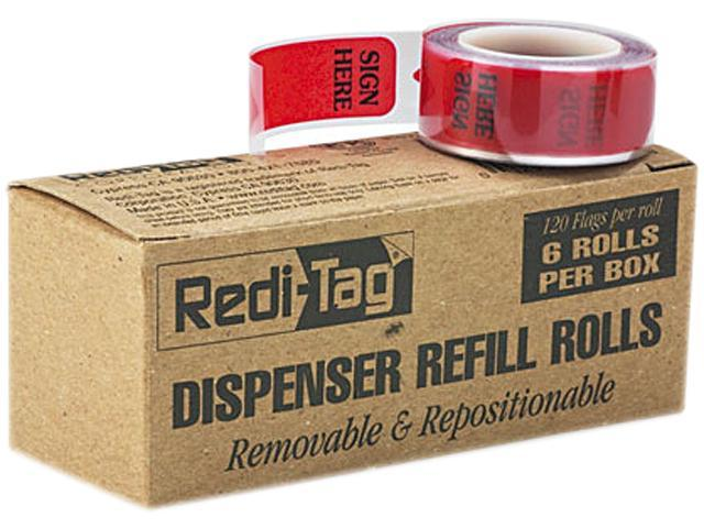 "Redi-Tag 91012 Printed Message Arrow Flag Refills, ""Sign Here"", 6 Rolls of 120 Flags/Box"