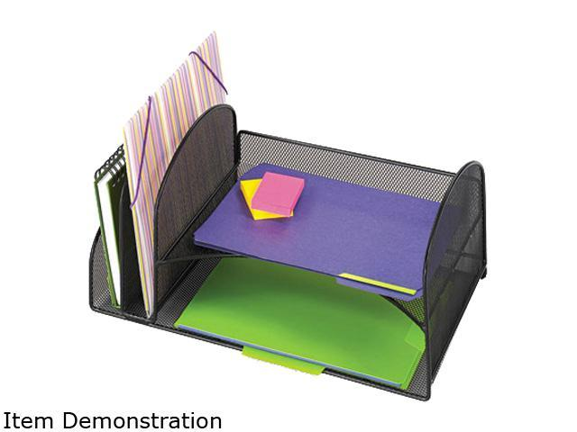 Safco 3264BL Desk Organizer, Two Vertical/Two Horizontal Sections, 17 x 10 3/4 x 7 3/4, Black