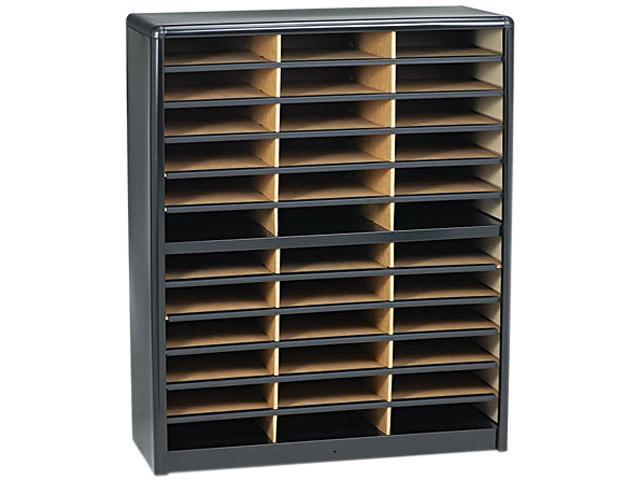 Safco 7121BL Steel/Fiberboard Literature Sorter, 36 Sections, 32 1/4 x 13 1/2 x 38, Black
