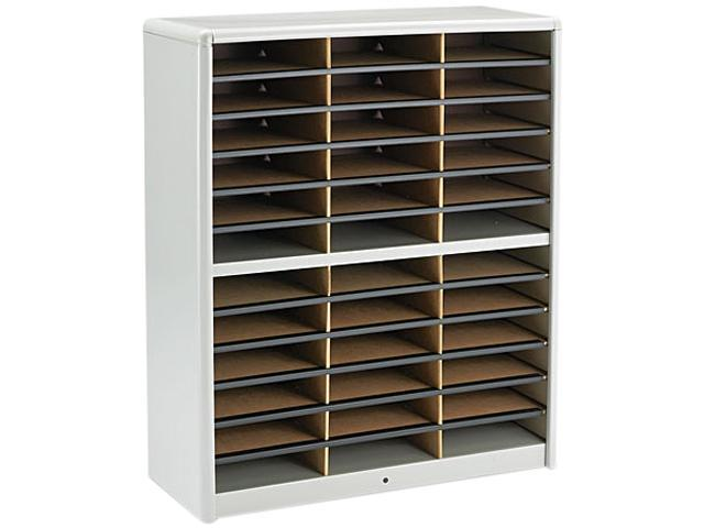 Safco 7121GR Steel/Fiberboard Literature Sorter, 36 Sections, 32 1/4 x 13 1/2 x 38, Gray