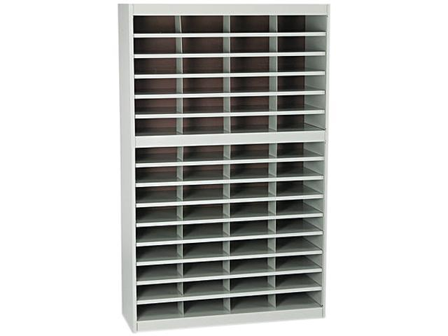 Safco 9231GRR Steel/Fiberboard E-Z Stor Sorter, 60 Sections, 37 1/2 x 12 3/4 x 60, Gray
