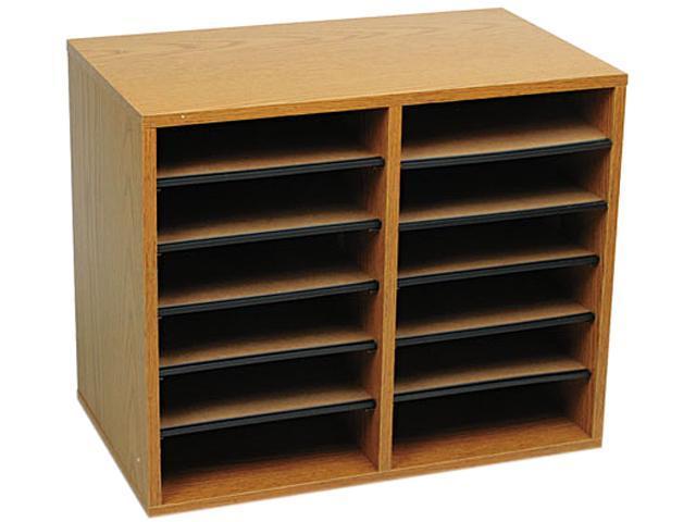 Safco 9420MO Wood/Fiberboard Literature Sorter, 12 Sections, 19 5/8 x 11 7/8 x 16 1/8, Oak