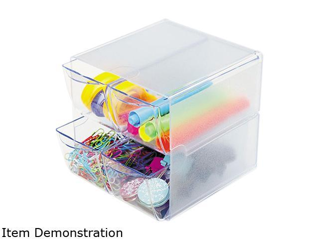 deflect-o Desk Cube, w/4 Drawers, Clear Plastic