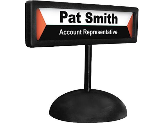 Advantus 83708 People Pointer Desktop Sign, w/Nameplate, Plastic, 9 x 3, Black