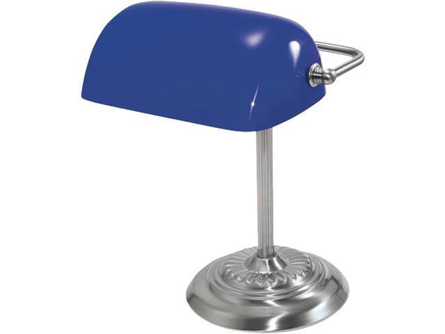 Ledu L557BL Traditional Incandescent Banker's Lamp, Blue Glass Shade, Chrome Base, 14 Inches