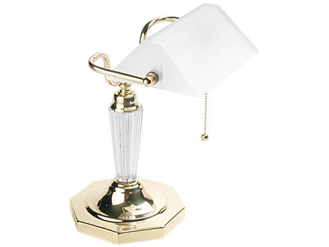 Ledu L658FR Incandescent Banker's Lamp, Glass Shade, Brass Base, Acrylic Arm, 14 Inches