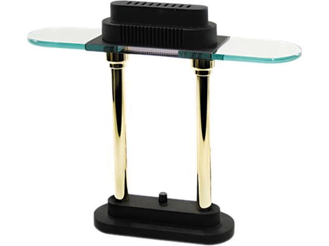 Ledu L9074 Halogen Desk Lamp, Black/Brass Base, Glass Shade, 15 Inches High