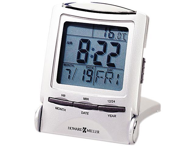 Howard Miller 645-358 Distant Time Traveler Alarm Clock, 2-1/4in, Silver, 1 AAA (incl)