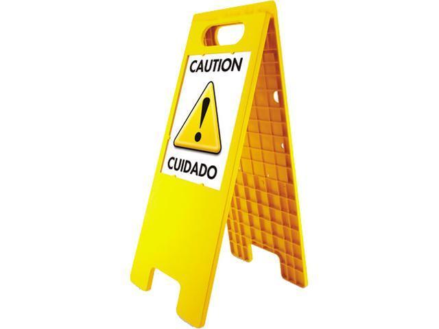 Headline Sign 5693 Floor Tent Sign, Doublesided, Plastic, 10 1/2 x 25 1/2, Yellow