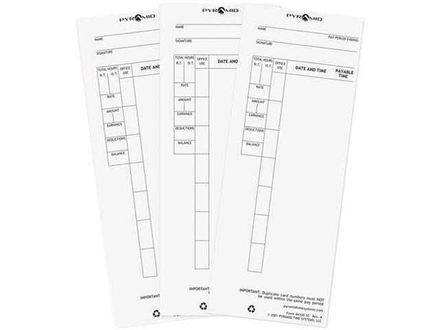Pyramid Technologies 4410010 Time Card for Model 4000 Payroll Recorder, 3-1/2 x 8-1/2, 100/Pack