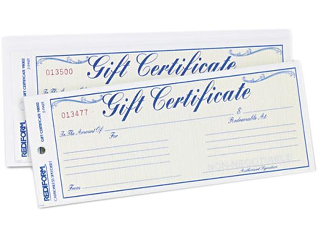 Gift Certificates w/Envelopes, 8-1/2w x 3-2/3h, Blue Border, 25/Pack