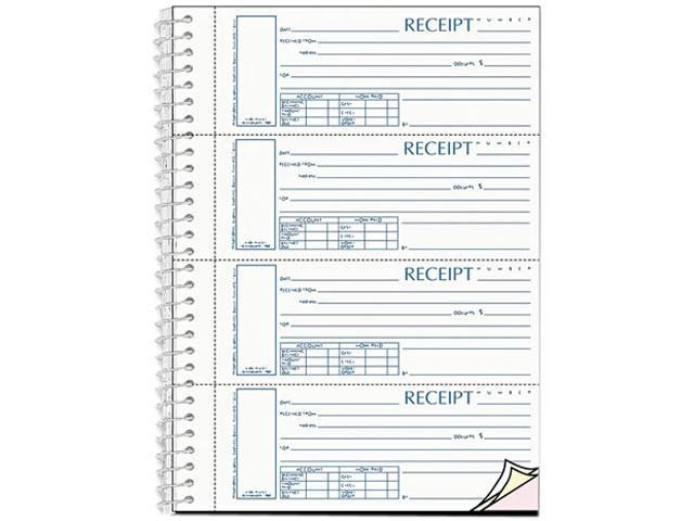 Rediform S16444W-CL Spiralbound Unnumbered Money Receipt Book, 2-3/4 x 7, Three-Part, 120 Sets/Book