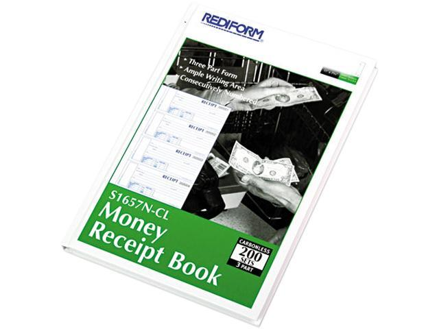 Rediform S1657N-CL Hardcover Numbered Money Receipt Book, 6-7/8 x 2-3/4, Three-Part, 200 Forms