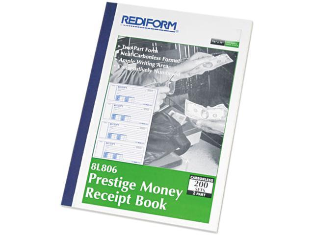 Rediform 8L806 Money Receipt Book, 7 x 2-3/4, Carbonless Duplicate, 200 Sets/Book