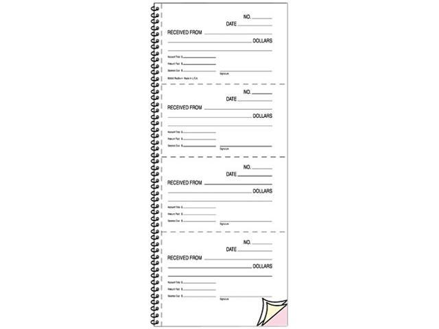 Rediform 23L117 Money and Rent Unnumbered Receipt Book, 5-1/2 x 2-3/4, Two-Part, 500 Sets/Book